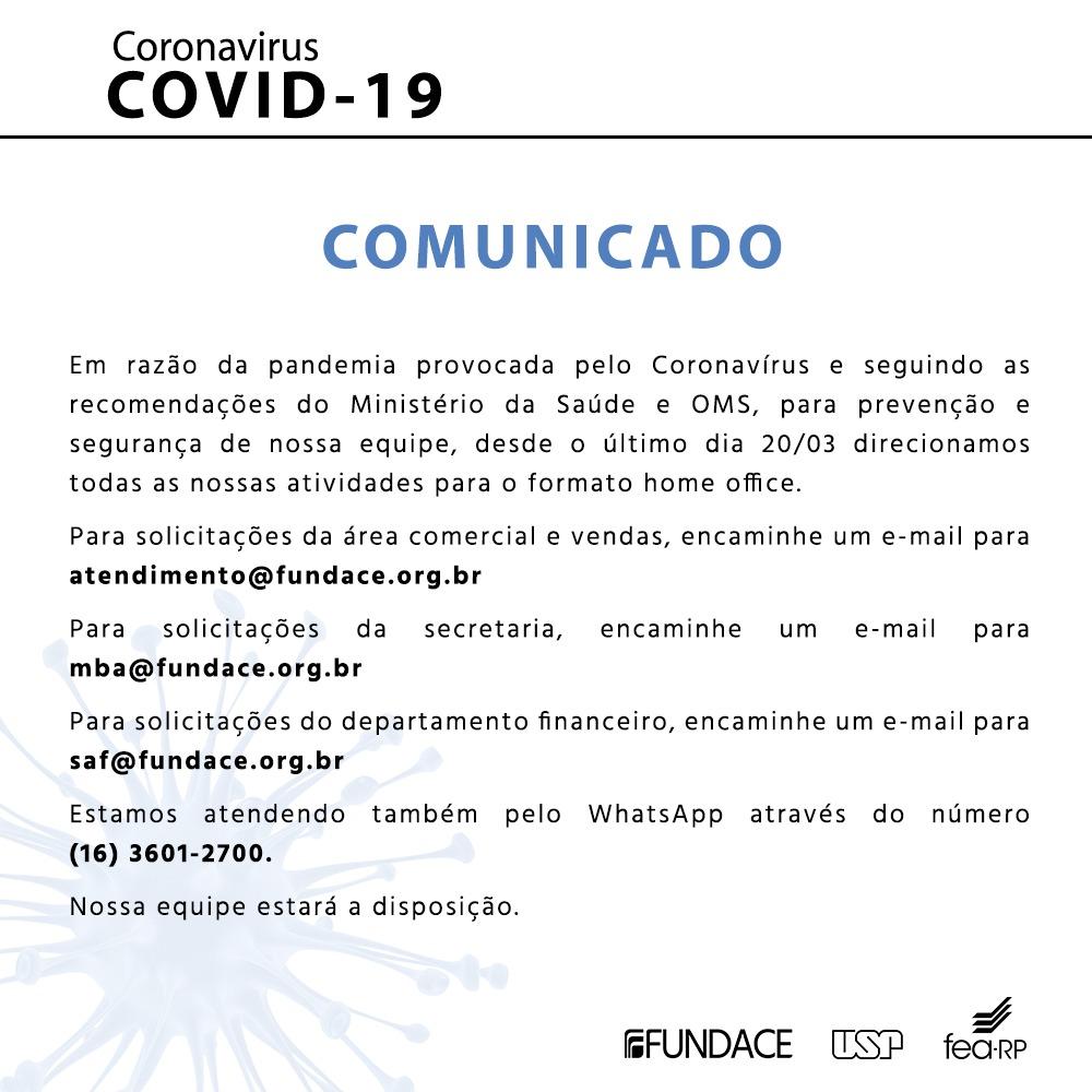 Corona Vírus - Comunicado